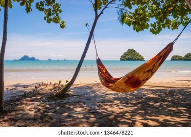 Hammock hanging on the beach in Krabi, Thailand