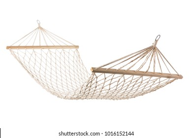 hammock mesh of white rope hanging on ropes, white background isolate