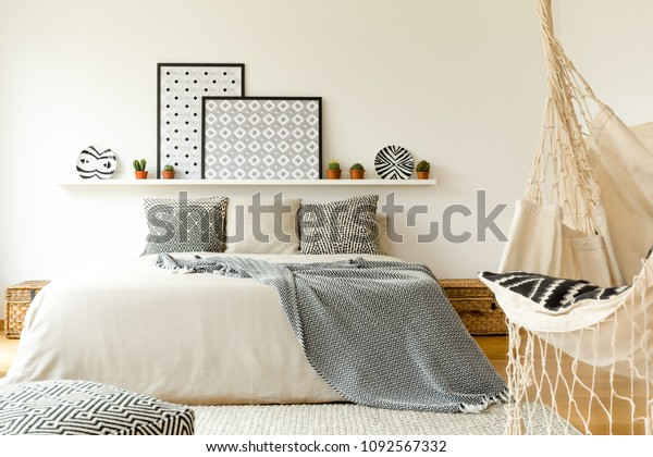 Hammock Near Bed Patterned Blanket Against Interiors Stock Image 1092567332