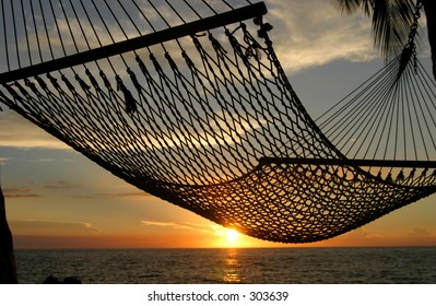 A hammock on the Big Island of Hawaii with the sunset in the background.