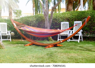 Hammock On Lawn In Backyard