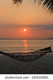 Hammock on a tropical island during sunset