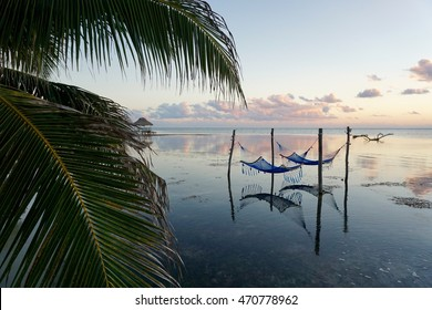 Hammocks in the Caribbean Sea. - Hammocks in the ocean with palm tree and clouds. Sunrise in Ambergris Caye, Belize.