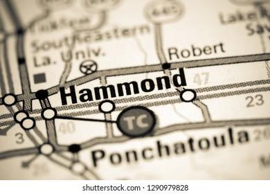 Hammond. Louisiana. USA on a map