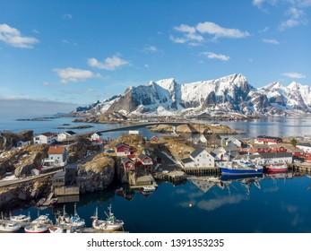 Hamnoy, Norway - Apr, 15th 2019: Hamnoy old fishing village in Reine Lofoten, Norway
