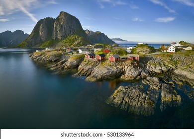 Hamnoy, Norwey Picturesque view small harbor on Lofoten islands in Norway