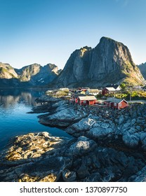 Hamnoy at sunset on the Lofoten, with the typical red houses