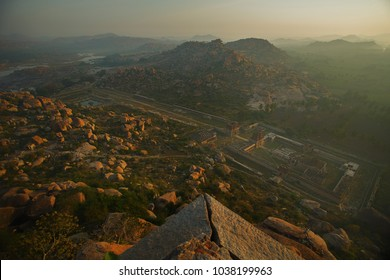 Hampi, India - 5 Dec. 2014:  Ruins of Vijayanagara capital of the Vijayanagara Empire. View from mountain Matangi on sunrise Hampi Karnataka India