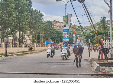 Hampi / India - June 1 2016: A cow and some scooters driving over a train track in south India during  a hot summer day.