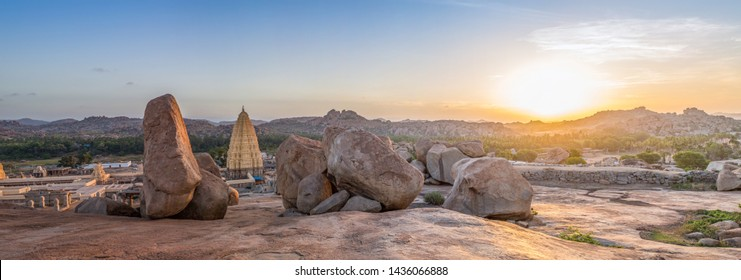 Hampi / India - June 26 2019: A view over Hampi temple and the surroundings at sunrise