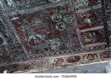 HAMPI, INDIA - SEP 24, 2017 -  Ceiling paintings with scenes from Hindu mythology, Virupaksha Vishnu Temple, Vijayanagar,Karnataka, India