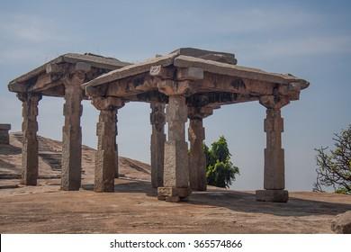 Hampi, India. Stone pillar temple on Malyavanta Hill, Hampi India