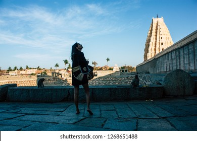 Hampi Karnataka India December 20, 2018 Portrait of Reachel Singh, Dutch professional singer taking inspiration at Hampi temple in southern India