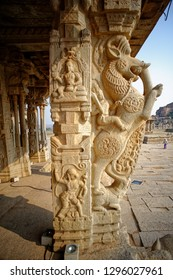Hampi Karnataka India February 27 2011 Decorative and carved pillars at vitthal temple