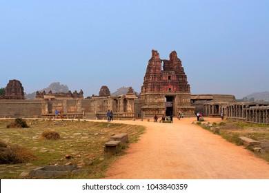 HAMPI, KARNATAKA, INDIA, NOVEMBER 2017, Visitors visits main entrance gopuram or gate of Vitthal Temple