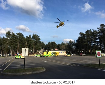 Hampshire Air Ambulance Helicopter at Fleet Services M3 April 2017 Landing Taking Off Emergency
