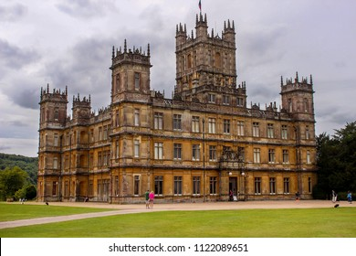 Hampshire, England - May 24 2018: Highclere Castle, a Jacobethan style country house and set of Downton Abbey