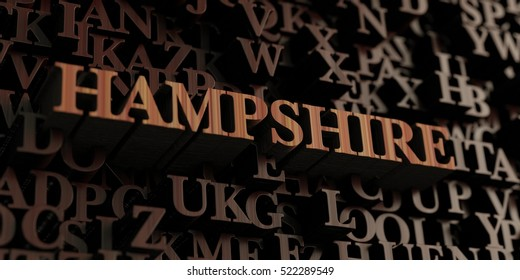Hampshire - Wooden 3D rendered letters/message.  Can be used for an online banner ad or a print postcard.