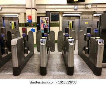 HAMPSTEAD, LONDON - FEBRUARY 5, 2018: Entrance barriers at Hampstead Underground Station on the Northern Line in Hampstead, North London, UK.
