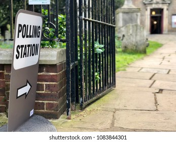 HAMPSTEAD, LONDON - MAY 3, 2018: A sign directs voters to a polling station in Hampstead to elect councillors for Camden council in London, UK.
