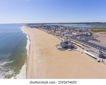 Hampton Beach aerial view including historic waterfront buildings on Ocean Boulevard and Hampton Beach State Park, Town of Hampton, New Hampshire NH, USA.