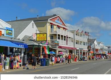 HAMPTON, NH, USA - AUG. 18, 2014: Historic waterfront buildings at the corner of Ocean Boulevard and I Street in Hampton, New Hampshire, USA.