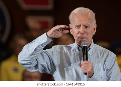 Hampton, N.H./USA - February 9, 2020, former Vice President Joe Biden speaks at a town hall meeting during the New Hampshire primary campaign.
