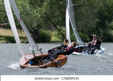 Hampton / UK - 06-28-2020: Sailing in windy conditions on the river Thames after Lockdown
