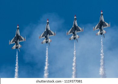 Hampton, VA / USA - May 20, 2018: USAF Thunderbirds perform a fly-by at the Airpower Over Hampton Roads airshow.