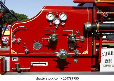 HAMPTON, VA-JUNE 9:A 1938 Quad firetruck  at the 3rd annual HCS car show at the Hampton Christian School in Hampton Virginia, 2012 in Hampton Virginia on June 9, 2012.
