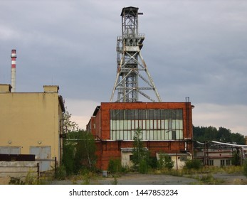 "Hamr na Jezere, Czech republic - August 29 2008: Head frame of uranium shaft no. 3 in the town of ""Hamr na Jezere"". The building was demolished in 2015 during a brownfield reclamation operation."