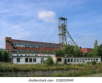 Hamr na Jezere, Czech republic - September 10 2005: Head frame and main building of uranium shaft no. 3. The building was demolished in 2015 during a brownfield reclamation operation.