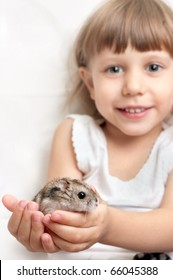 Hamster in the hands of a child, sharpness at the hands of
