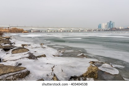 Han river covered with ice in winter, Seoul, South Korea
