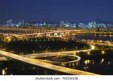 Han river and Gangnam panorama in Seoul, Korea