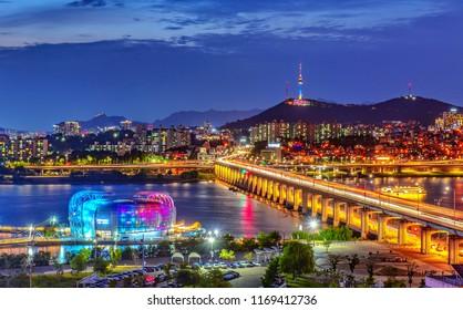 han river in night at seoul korea