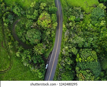 Hana, Maui, HI - November 5, 2018: An aerial top-down view of the Road to Hana, also known as Hana Highway. This road has over 600 hairpin turns.