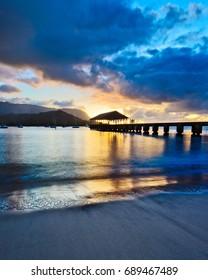 Hanalei Bay Pier at sunset, Kauai, Hawaii