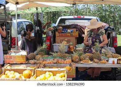 Hanalei, Kauai, Hawaii - March 30, 2019: farmers market fruit stand