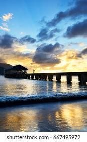 Hanalei Pier at Sunset