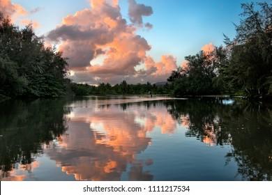 Hanalei River at Sunrise, Kauai, Hawaii