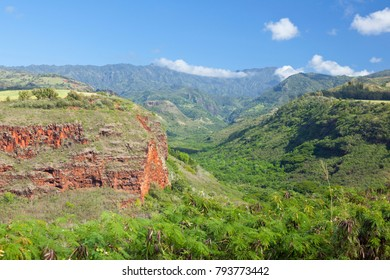 Hanapepe Canyon seen from the highway lookout in Kauai, Hawaii.