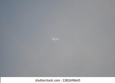 Hanau, Germany - 2018.04.28 Qantas at very high altitude