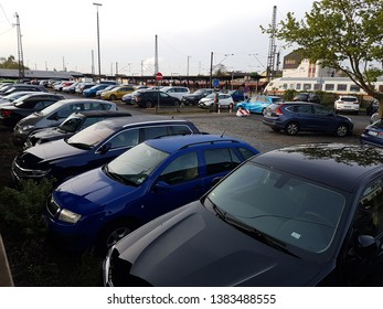 Hanau, Germany - 2019.04.29 parking lot full of cars at Hanau central station