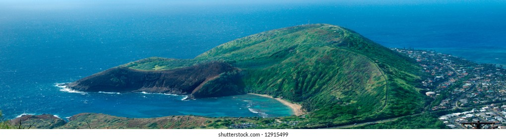Hanauma Bay Natural Preserve aerial view, Oahu Island, Hawaii