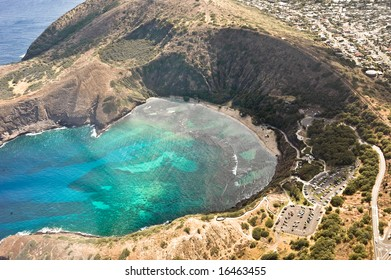 Hanauma Bay Nature Preserve from helicopter