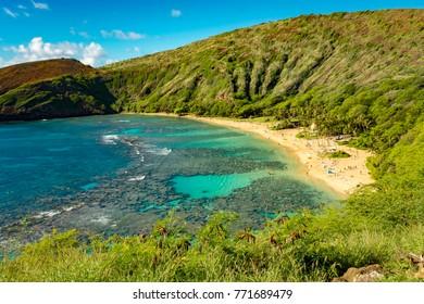 Hanauma Bay on the island of Oahu in Hawaii