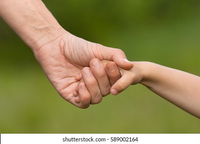 hand of adult holding child on blurred background