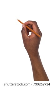 Hand of african american holds a pencil on isolated white background
