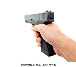 hand aiming a handgun on white background